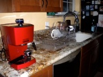 The red cappuccino machine